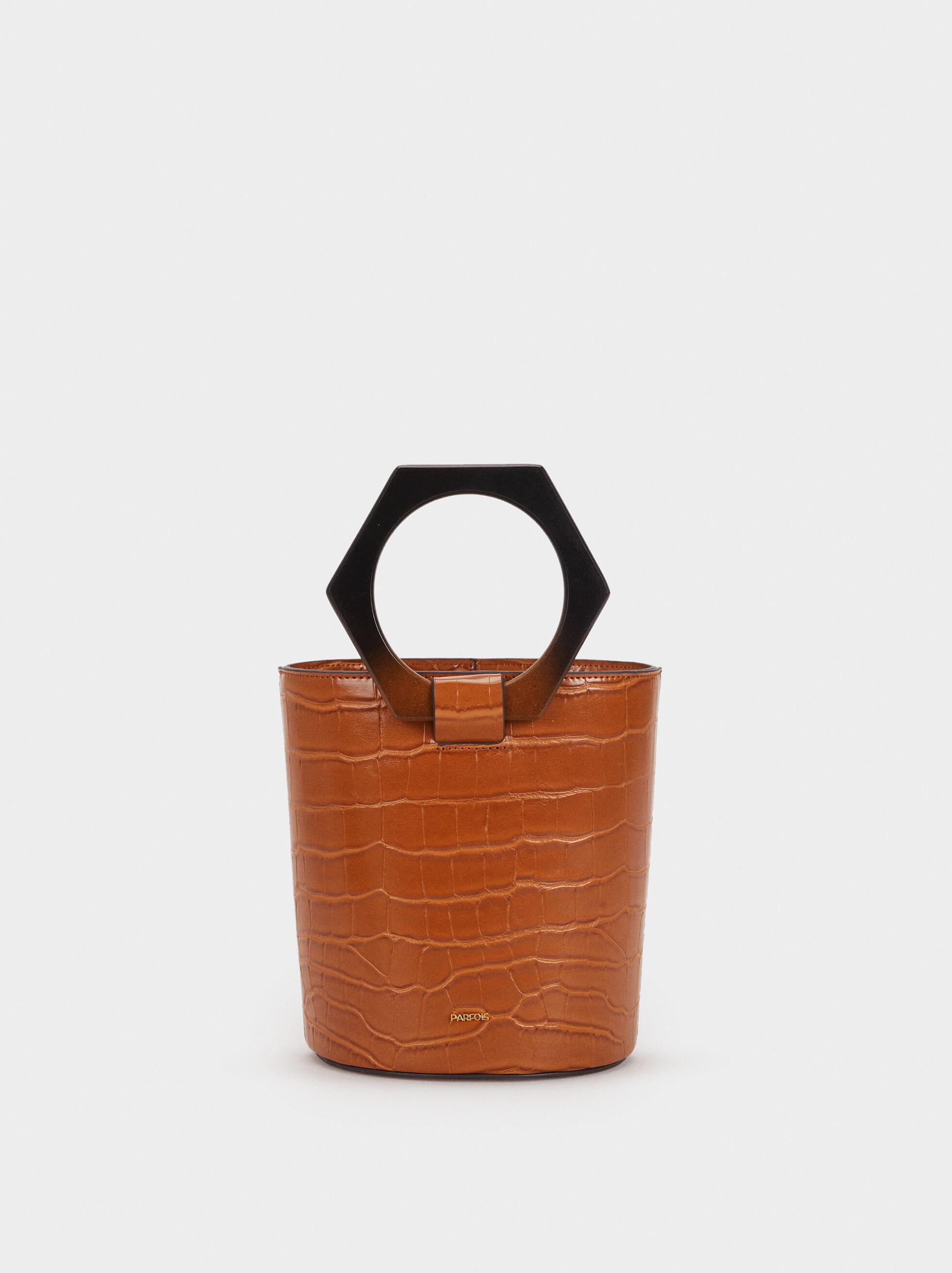 Embossed Bucket Bag, Camel, hi-res