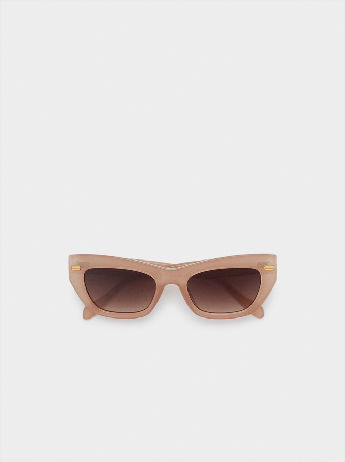 Sunglasses With Resin Frame, Beige, hi-res