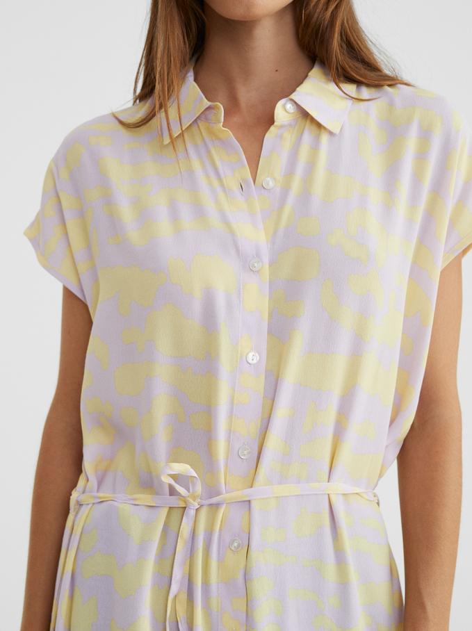 Shirt-Dress With Belt, Yellow, hi-res