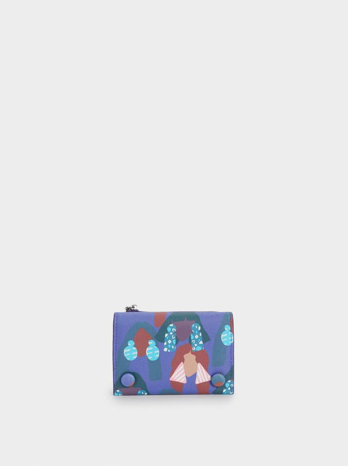 Portefeuille Compact Avec Imprimé, Violet, hi-res