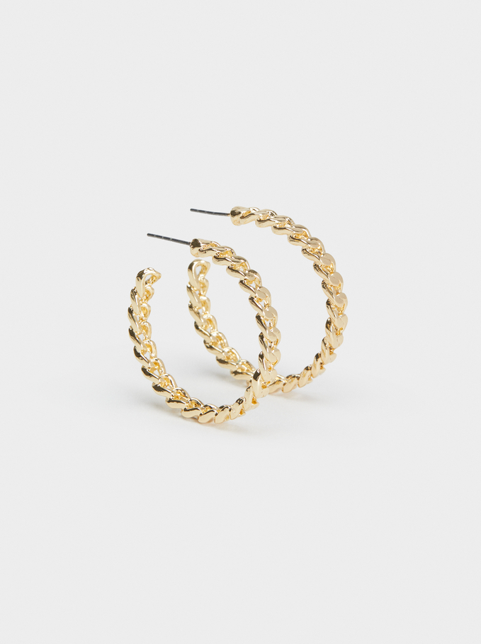 Hoop Fever Medium Hoop Earrings, Golden, hi-res