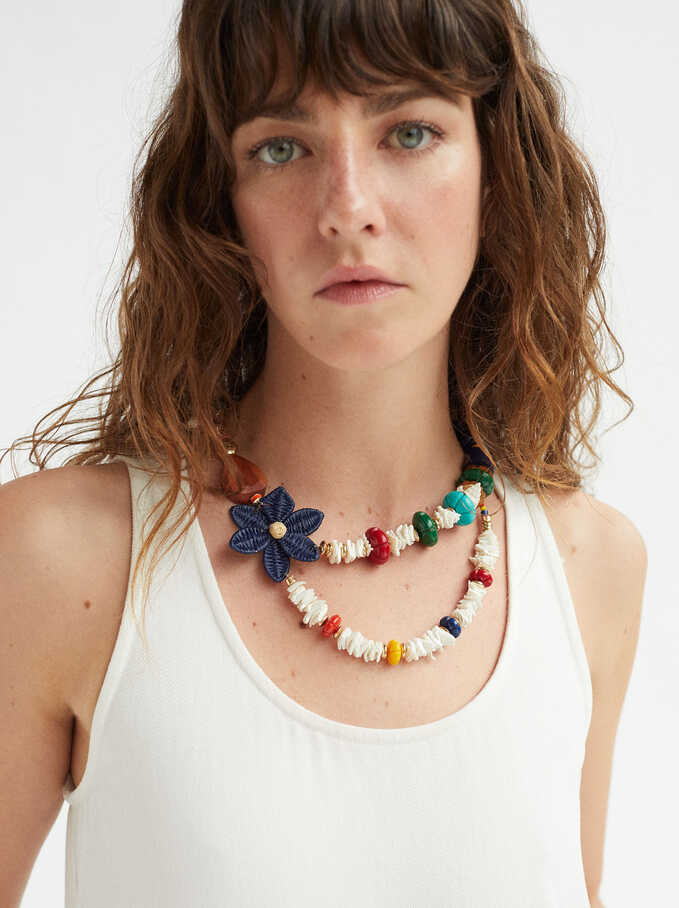 Short Combined Necklace With Flower, Golden, hi-res