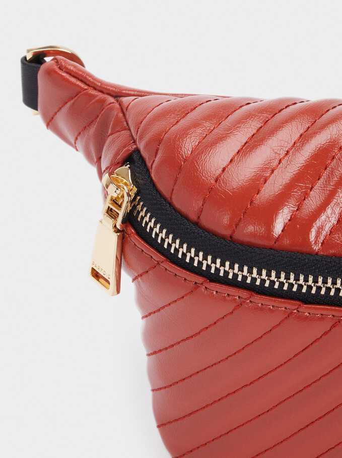Quilted Belt Bag, Brick Red, hi-res