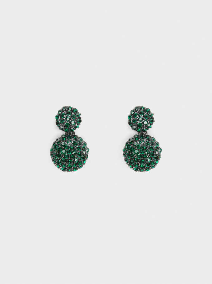 Small Earrings With Multicolour Crystals, Green, hi-res