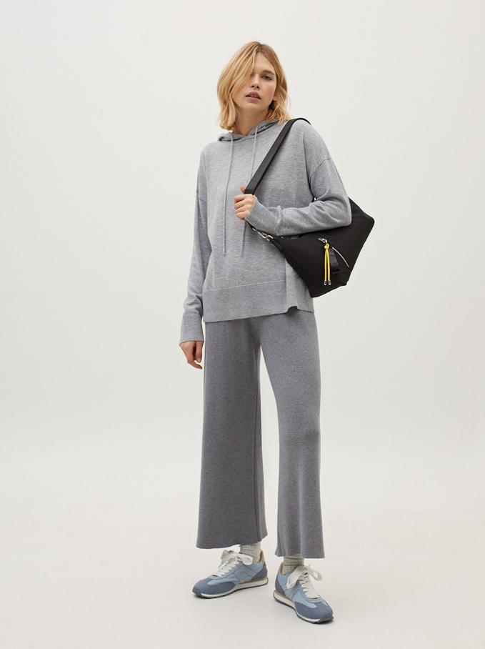 Sweatshirt De Malha Com Capuz, Cinzento, hi-res