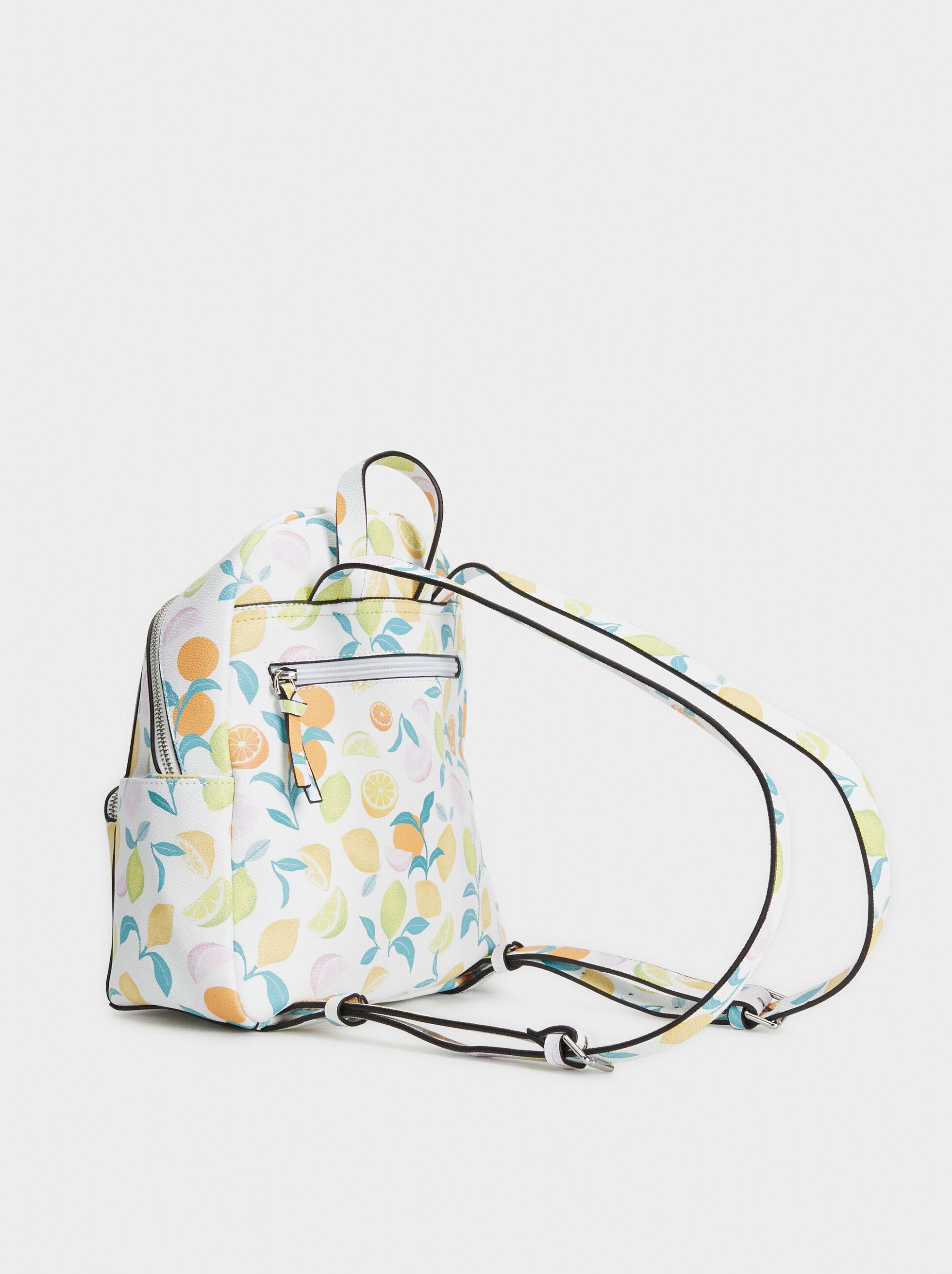 Fruit Print Backpack, Yellow, hi-res