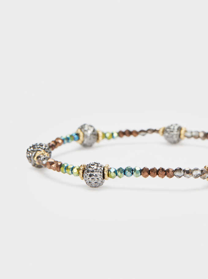 Elastic Bracelet With Crystals, Multicolor, hi-res
