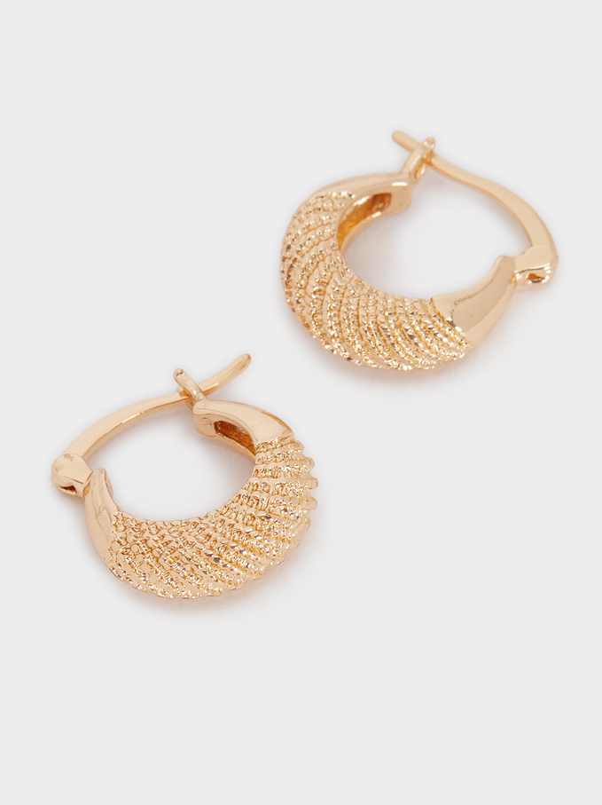 Small Golden Hoop Earrings, Golden, hi-res