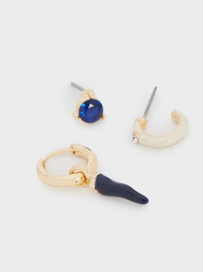 Hoop Earrings With Multicoloured Horns, Golden, hi-res