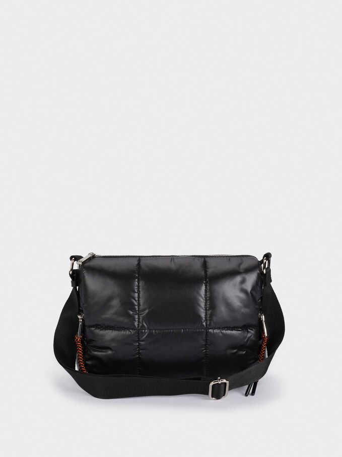 Quilted Nylon Crossbody Bag, Black, hi-res