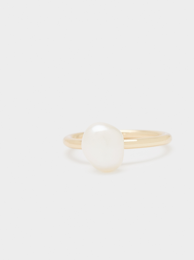 Gold Ring With Faux Pearl, Golden, hi-res