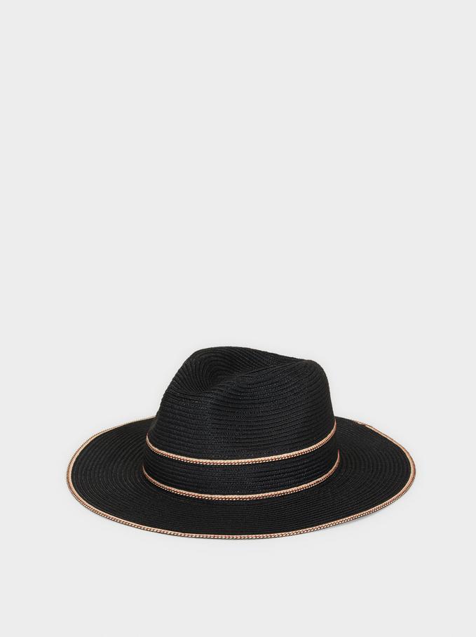 Raffia Texture Hat, Black, hi-res