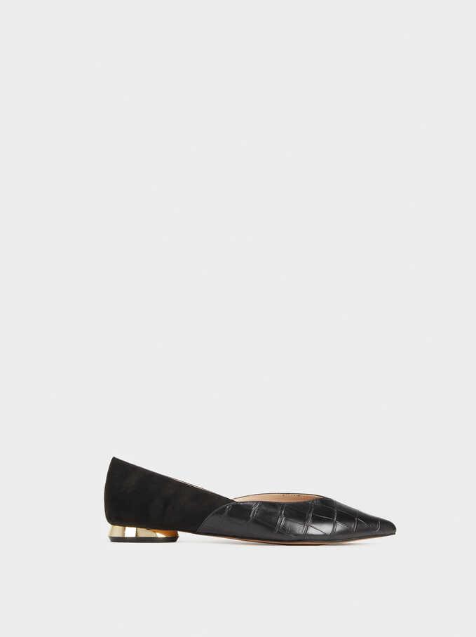Mock Croc Ballerinas With Gold Detail, Black, hi-res