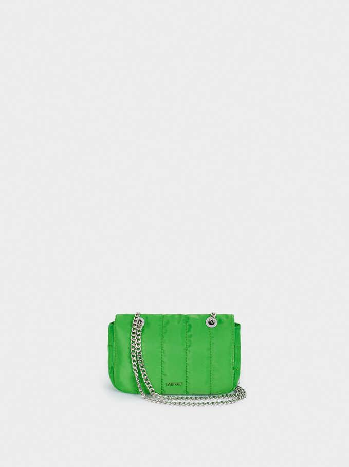 Quilted Nylon Shoulder Bag, Green, hi-res