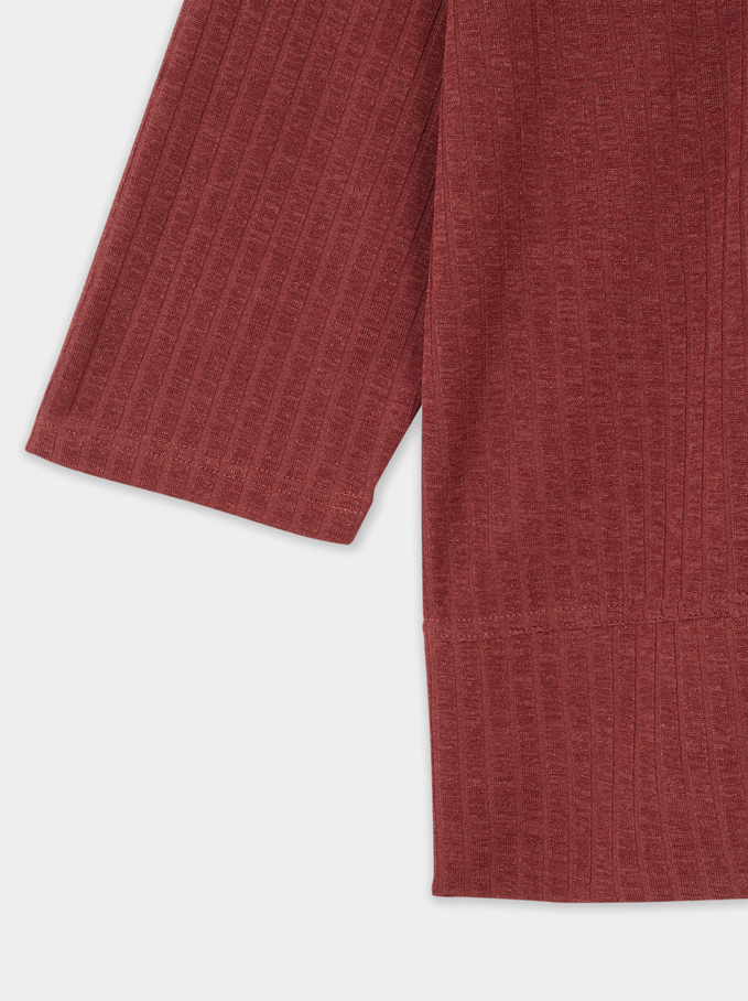 T-Shirt With Round Collar, Brick Red, hi-res