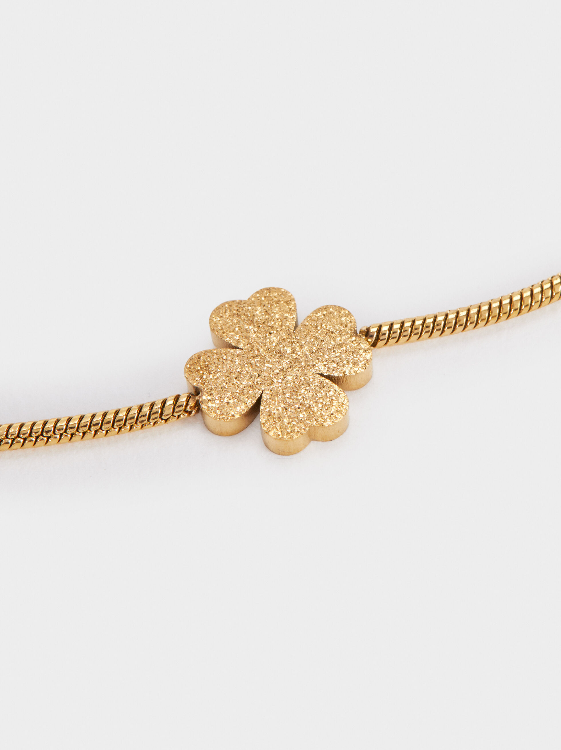 Steel Shamrock Bracelet, Golden, hi-res
