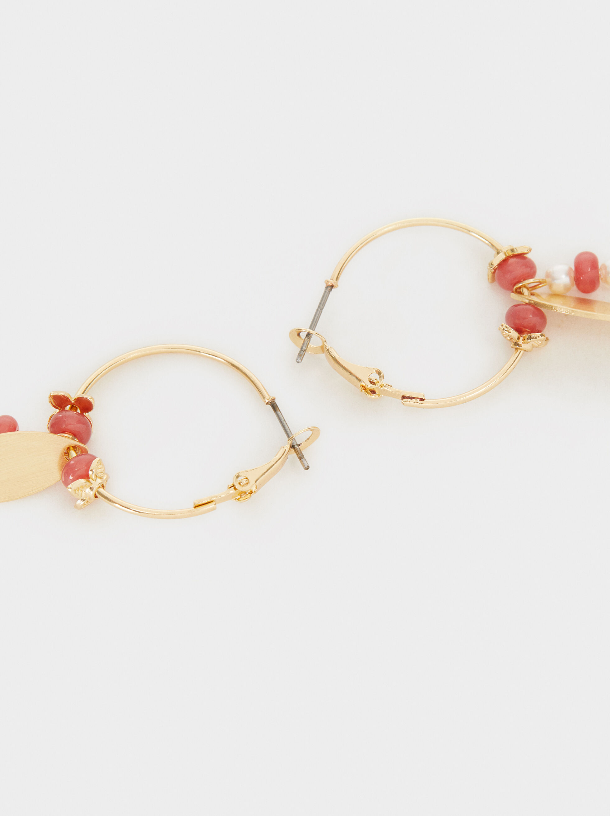 Petrified Small Hoop Earrings, Pink, hi-res