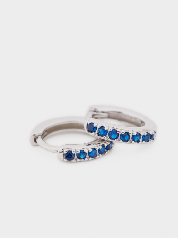 925 Silver Short Hoop Earrings With Zirconia, Blue, hi-res