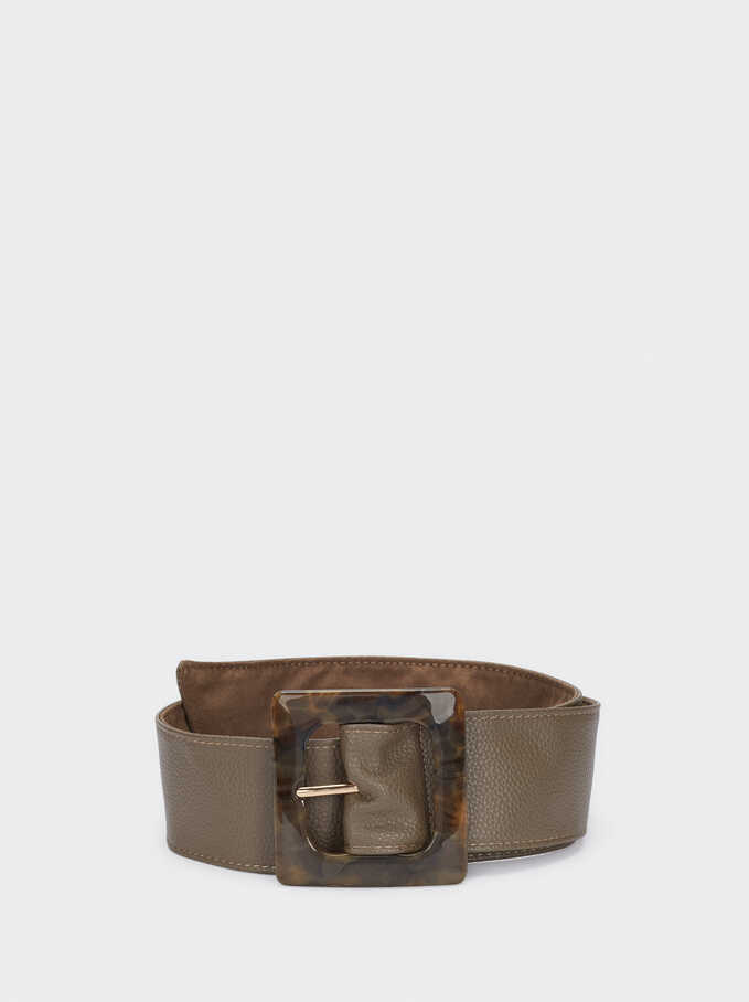 Belt With Tortoise-Shell Buckle, Brown, hi-res