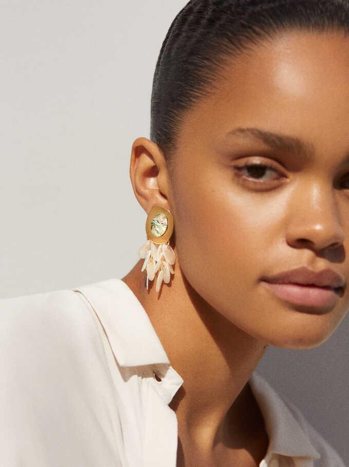Medium Mother-Of-Pearl Earrings, White, hi-res