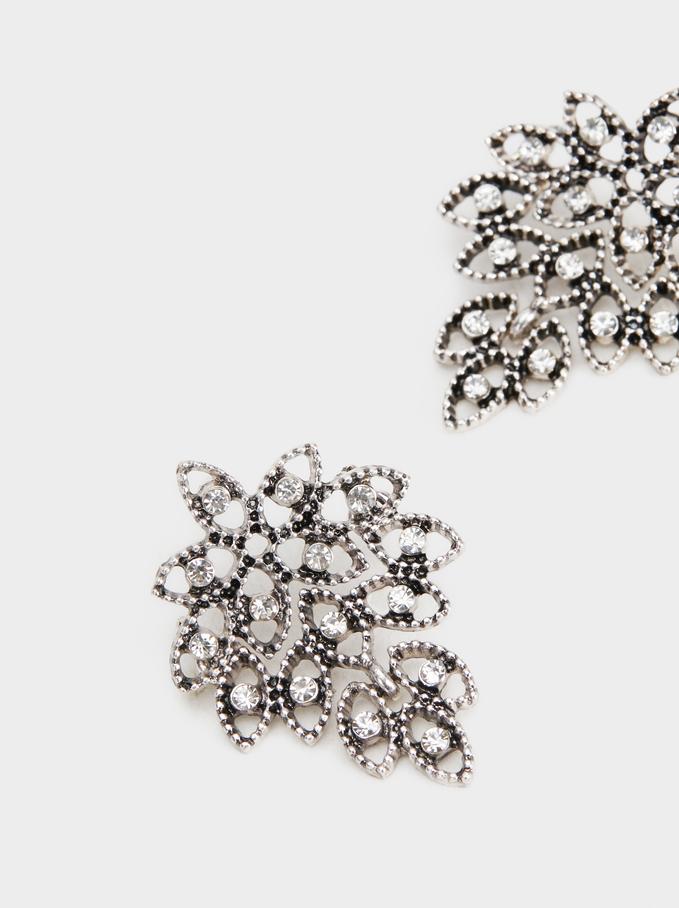 Crystals Earrings, Silver, hi-res