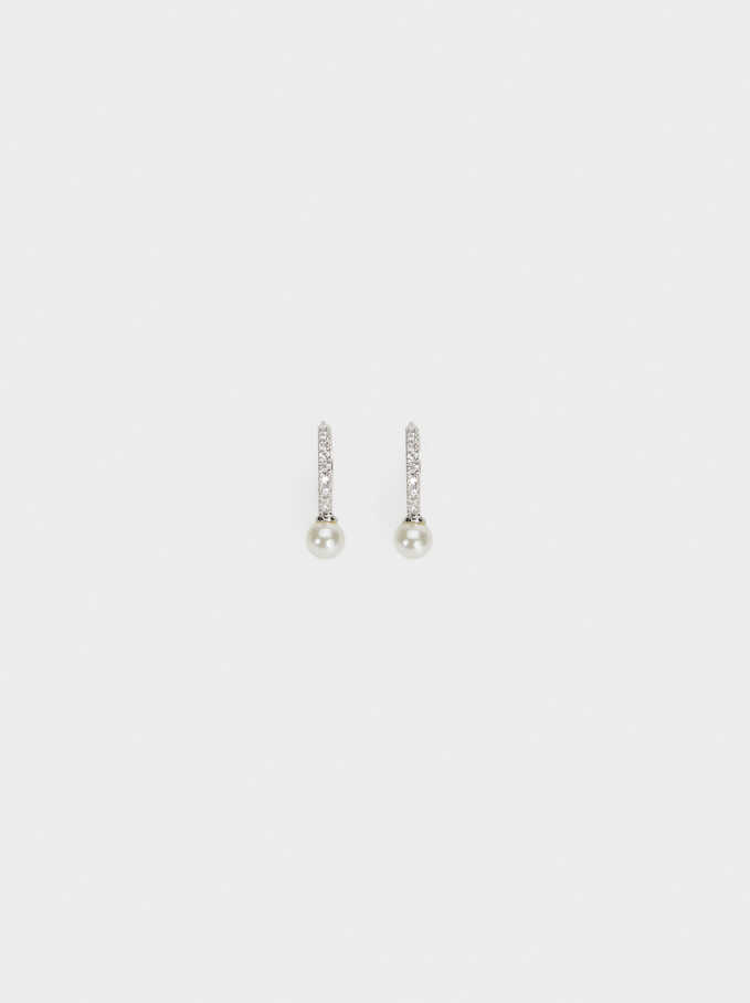 Small 925 Silver Faux Pearl Hoop Earrings, Beige, hi-res