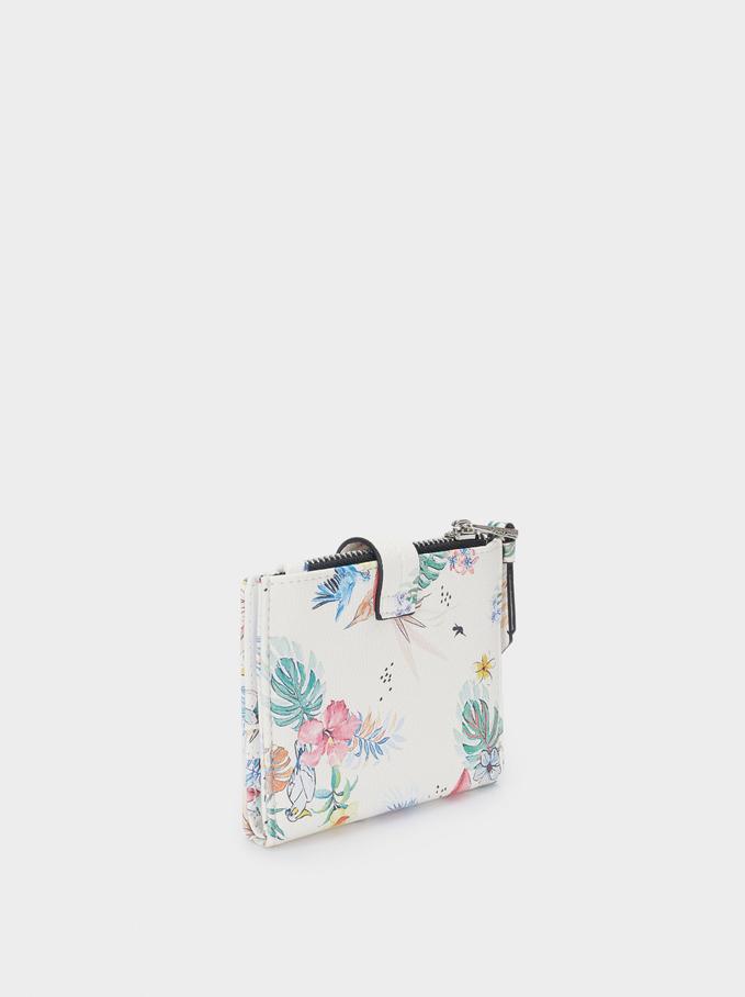 Compact Floral Print Wallet, White, hi-res