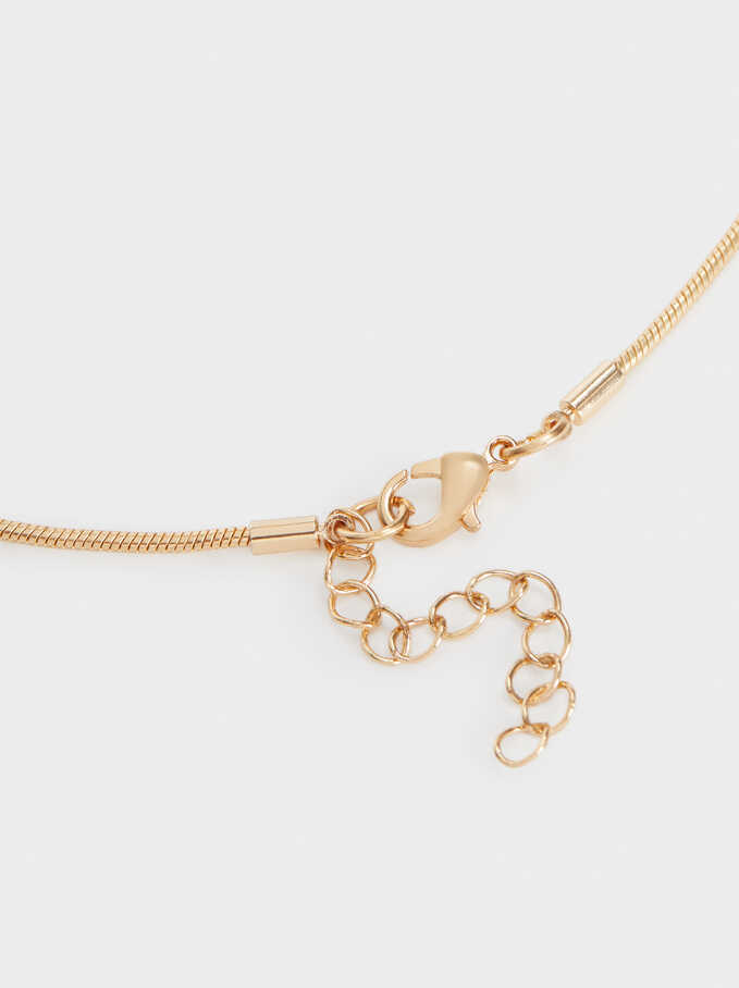 Long Gold Faux Pearl Necklace, Golden, hi-res