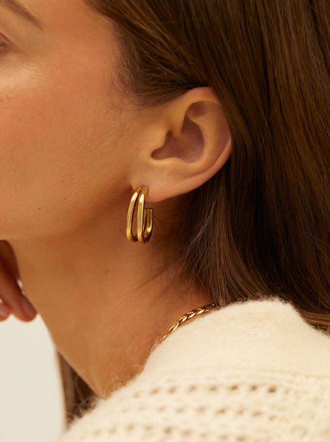 Ggolden Stainless Steel Earrings, Golden, hi-res