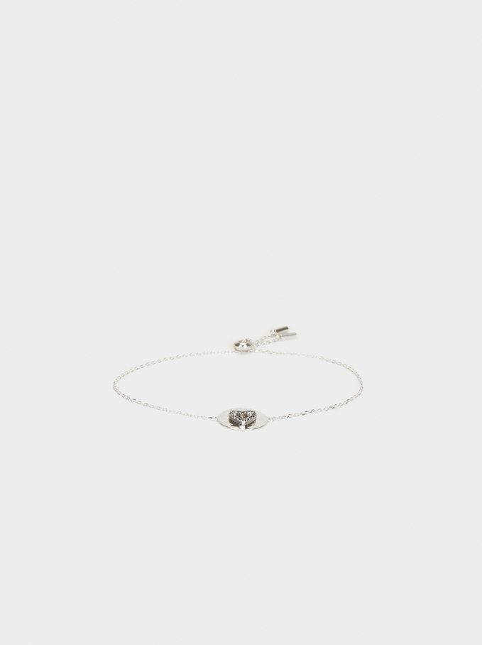 925 Silver Adjustable Heart Bracelet, Silver, hi-res