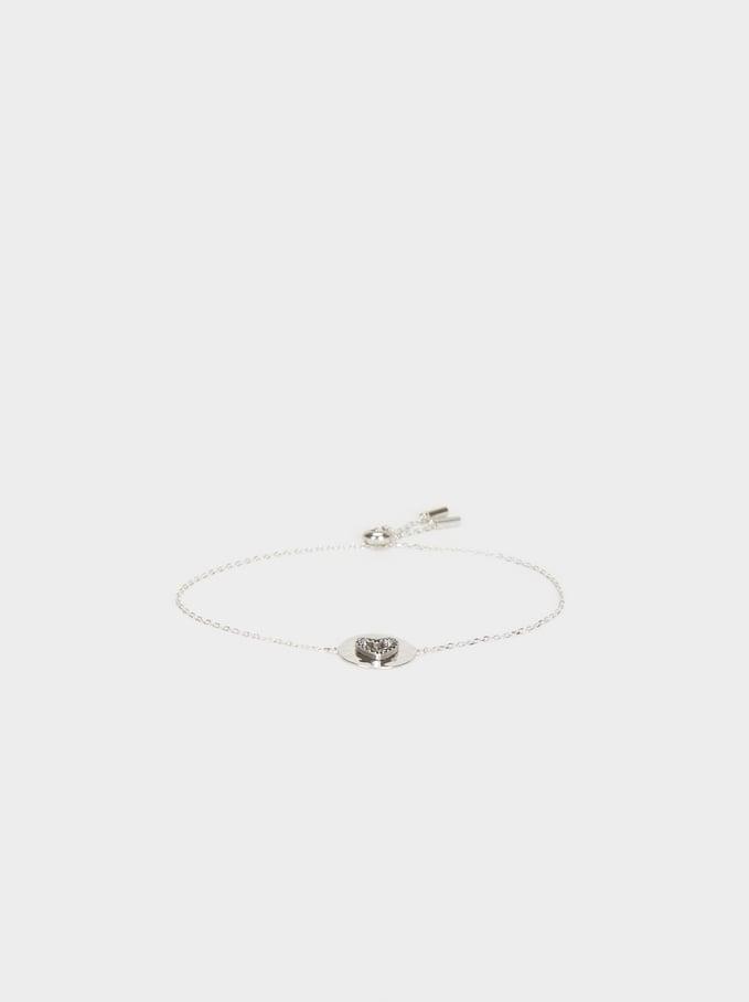 925 Silver Adjustable Heart Bracelet, Silver, hi-res