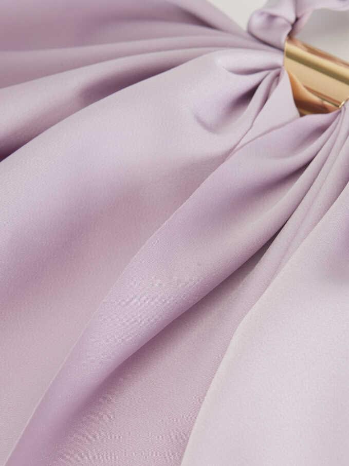 Plain Scrunchie With Metal Detail, Purple, hi-res