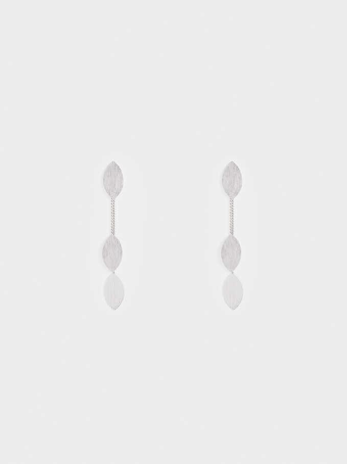 Leaf Dangle Earrings , Silver, hi-res