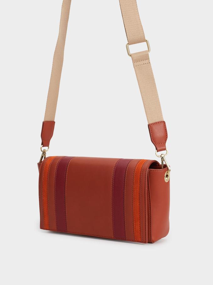 Patchwork Crossbody Bag, Brick Red, hi-res