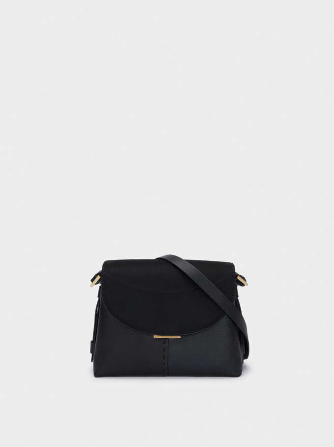 Faux Suede Crossbody Bag With Flap Closure, Black, hi-res
