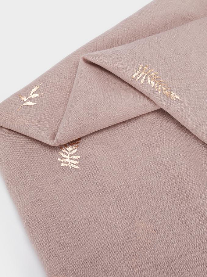 Scarf With Leaf Detailing, Pink, hi-res