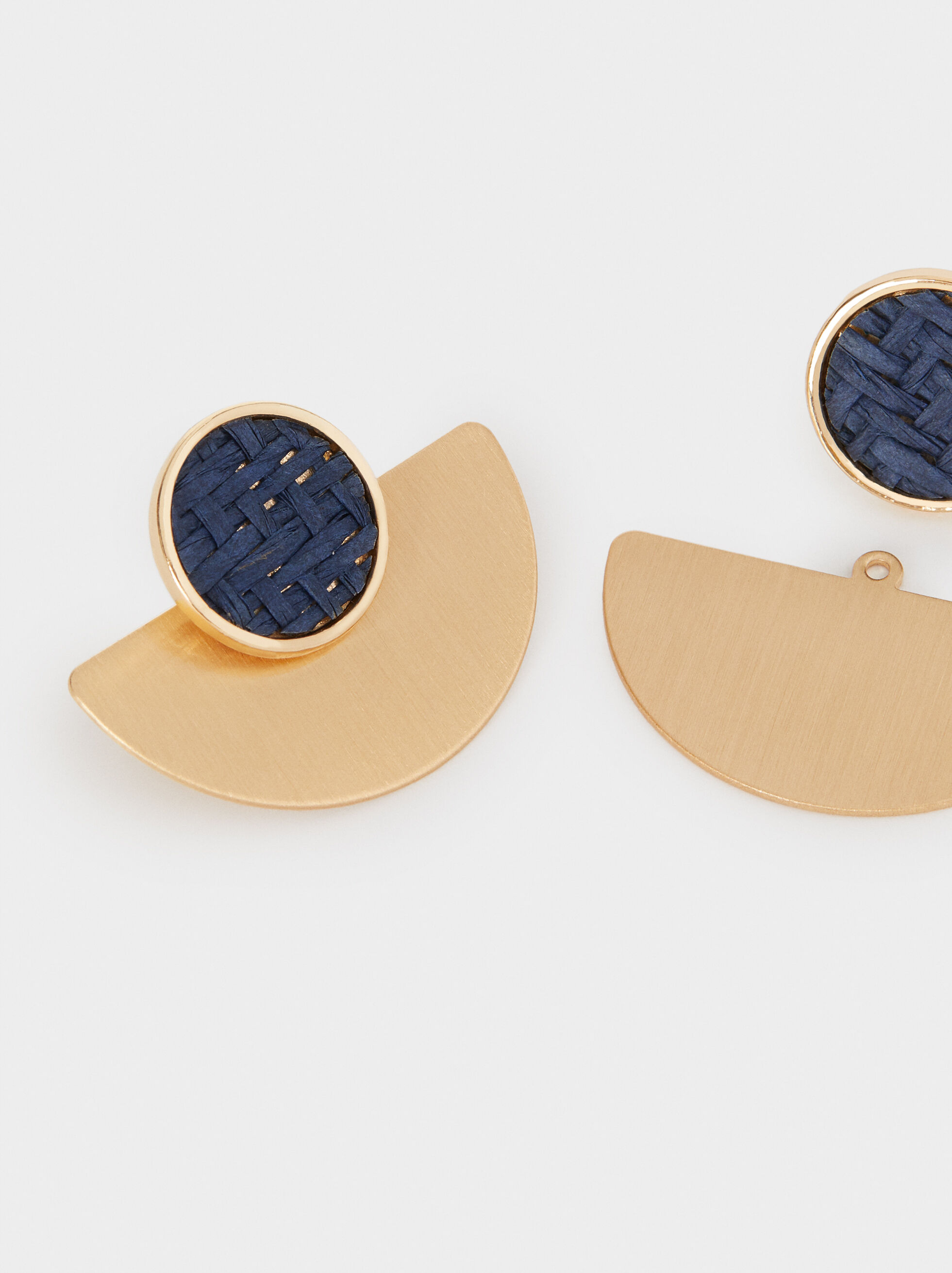 Small Gold Earrings, Blue, hi-res