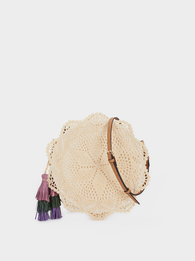 Crochet Crossbody Bag With Tassels, Beige, hi-res