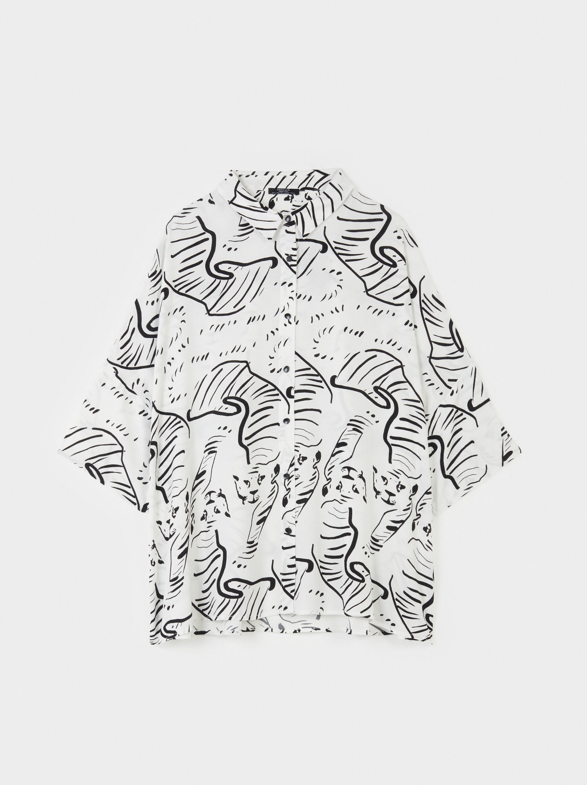 Camisa Estampado Animal, Crudo, hi-res