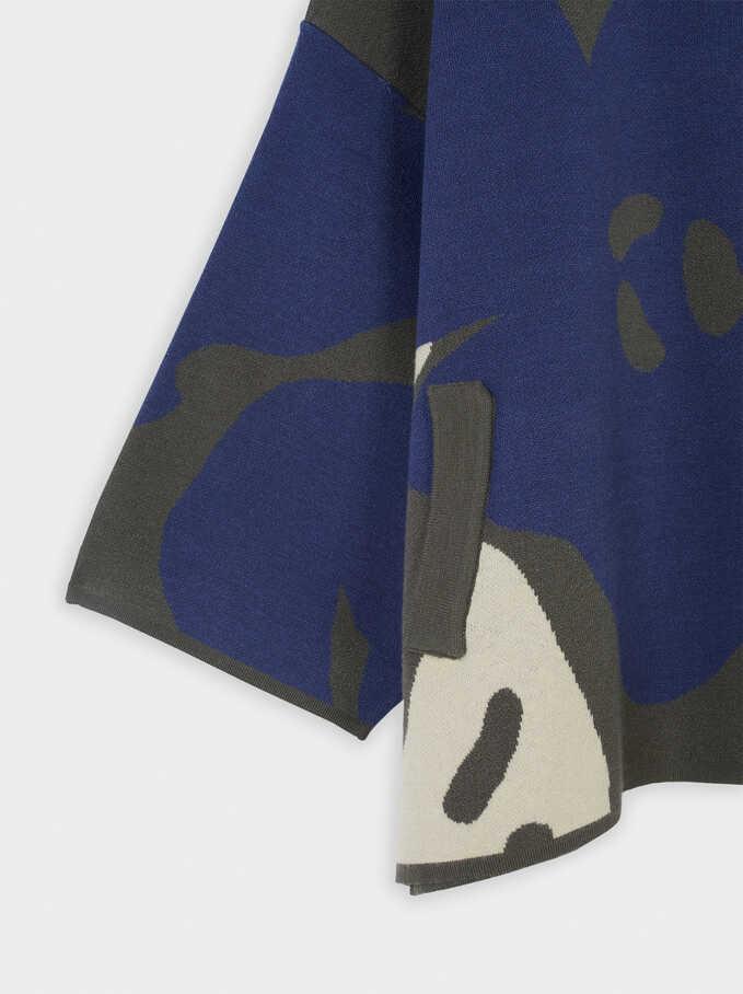 Zip-Up Knit Jacket, Blue, hi-res