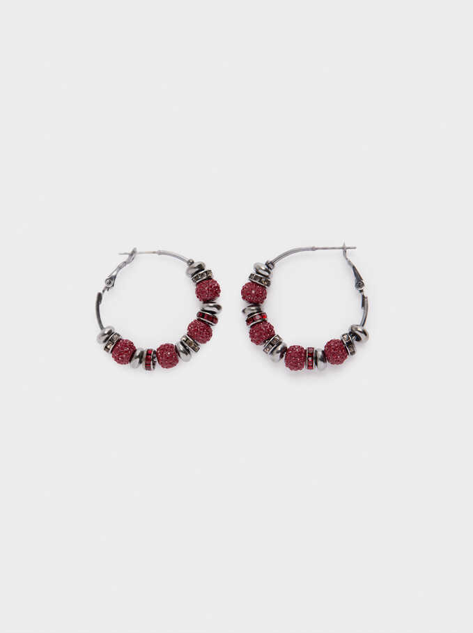Hoop Earrings With Multicoloured Crystals, Bordeaux, hi-res