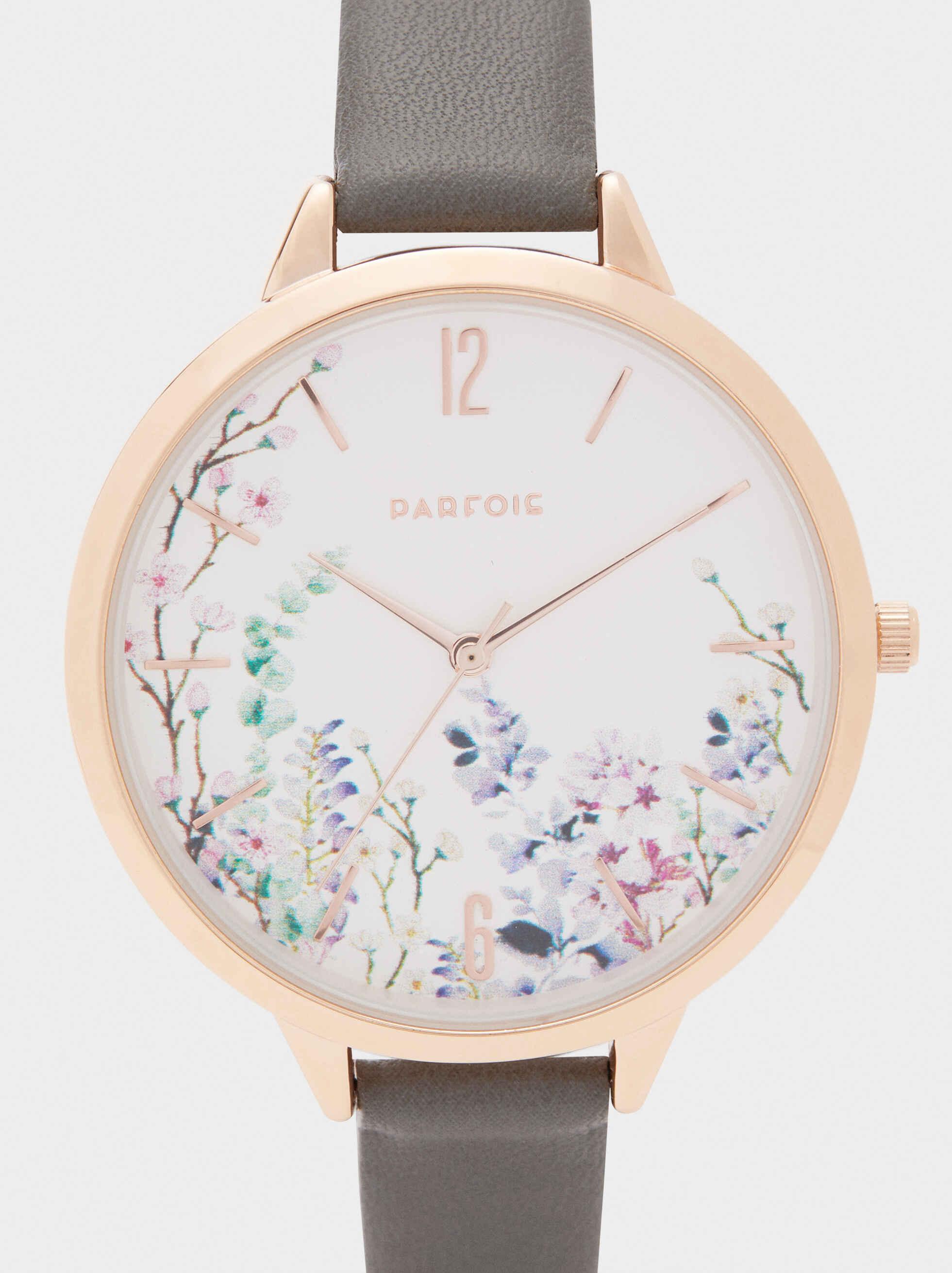 Reloj Esfera Floral, Caqui, hi-res