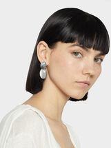 Medium Stone Earrings, Silver, hi-res