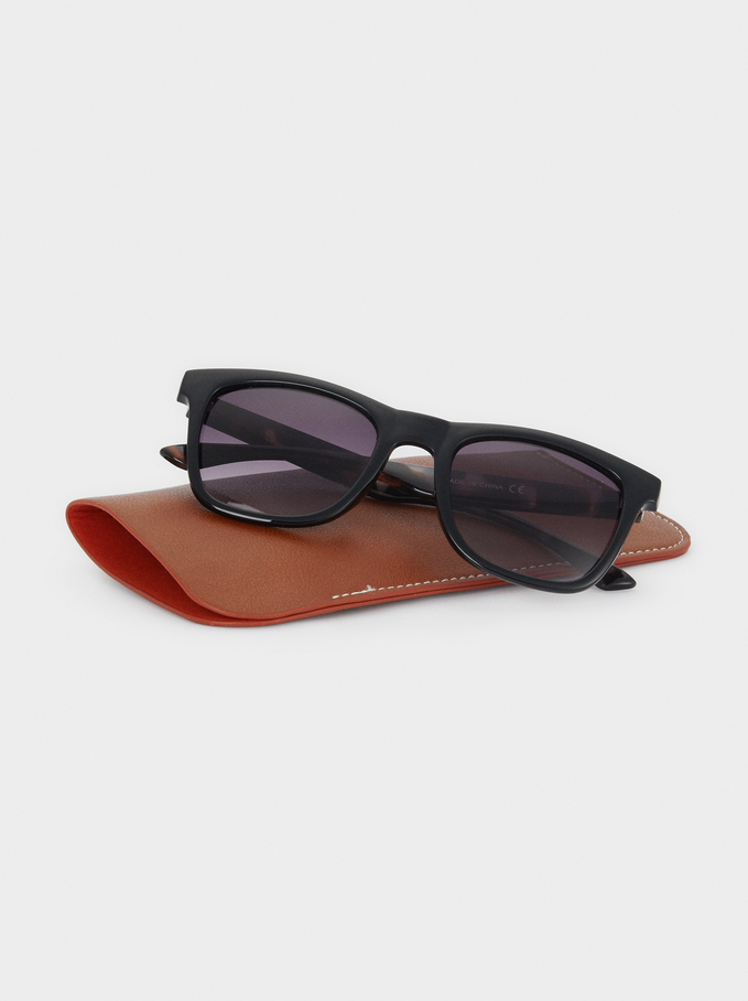 Sunglasses With Resin Frame, Black, hi-res