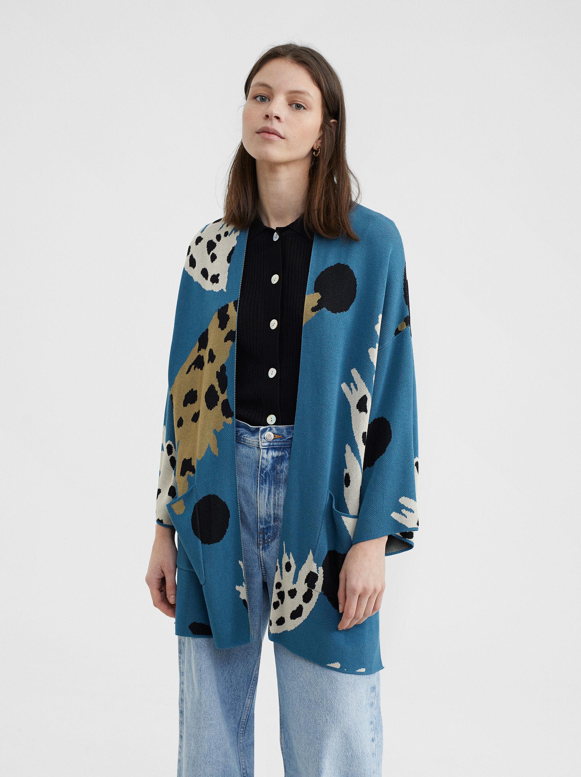 Printed Knitted Kimono, Blue, hi-res