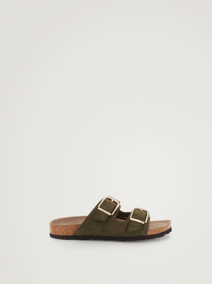 Sandales Plates À Boucles, Kaki, hi-res