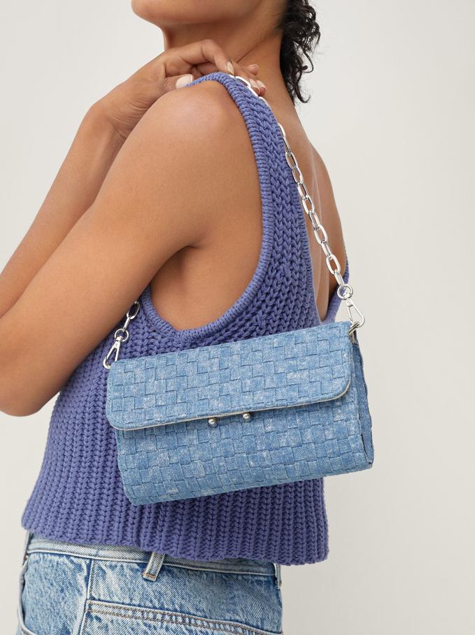 Interlaced Shoulder Bag With Chain Strap, Blue, hi-res