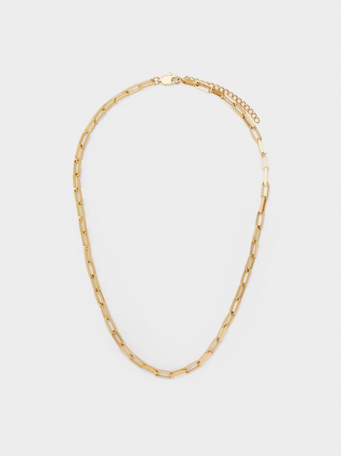 Short Steel Chain Necklace, Golden, hi-res