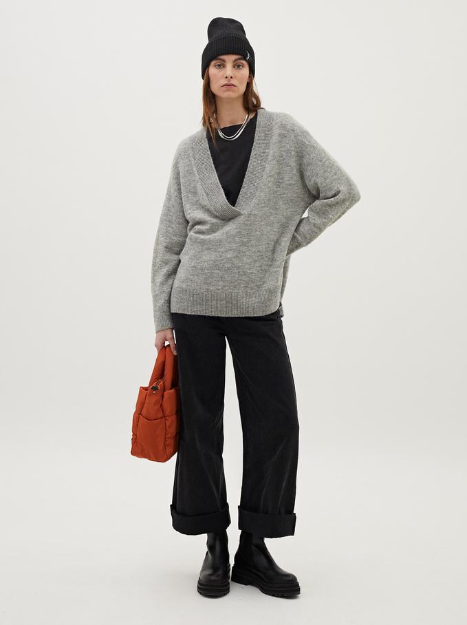 Knitted V-Neck Sweater, Grey, hi-res
