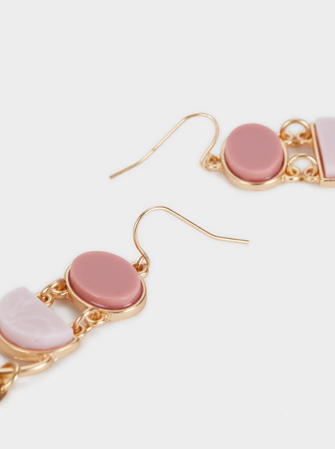Long Rose Earrings, Pink, hi-res